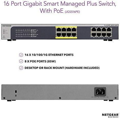 Netgear ProSAFE Plus JGS516PE 16-Port PoE Gigabit Ethernet Network Switch