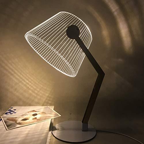BOLLAER Creative LED Vision Small Table Lamp, LED Visual Acryl ULE Deco Holz Nachttischlampe - Warmweiß Nachtlicht - Geschenk für nderzimmer Schlarfzimmer (Vintage-optische Rahmen)