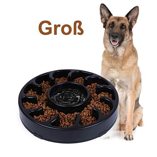 WERFORU rutschfeste Fressnapf, Langsam Essen Hundenapf für Grosse Hunde Umweltfreundlicher Langlebiger Ungiftiger Futternapf Interessanter Hund Schüssel (Schwarz, 9.84