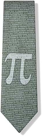 Men's Green Microfiber Pi Symbol to the 50th Decimal Mathematics Math Tie Necktie