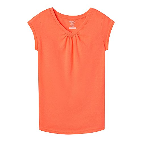 French Toast Toddler Girls' Short Sleeve V-Neck Tee, Bright Orange, 3T