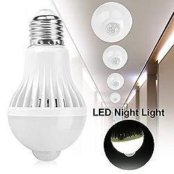 Riuty Motion Sensor Light Bulb, Smart Infrared Sensor PIR LED Bulbs E27 Intelligent Detection PIR Infrared Motion Sensor Light Indoor/Outdoor LED Lighting Lamp for Porch, Hallway 5W