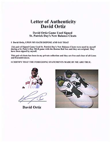 David Ortiz Signed Autographed 2016 Game Used Redsox Cleats MLB