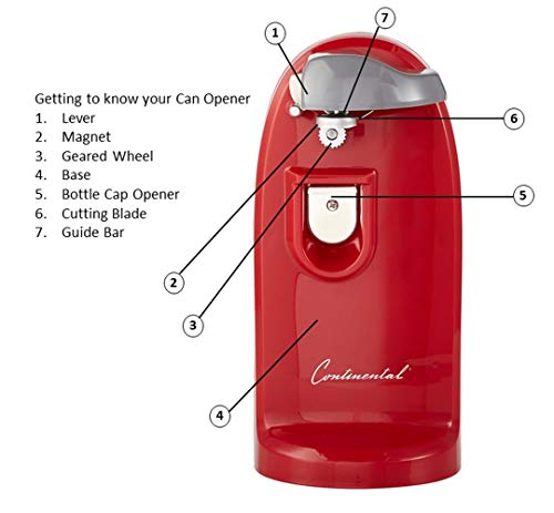 Continental Electric CP42265 Tall Can Opener, Red by Continental Electric (Image #4)