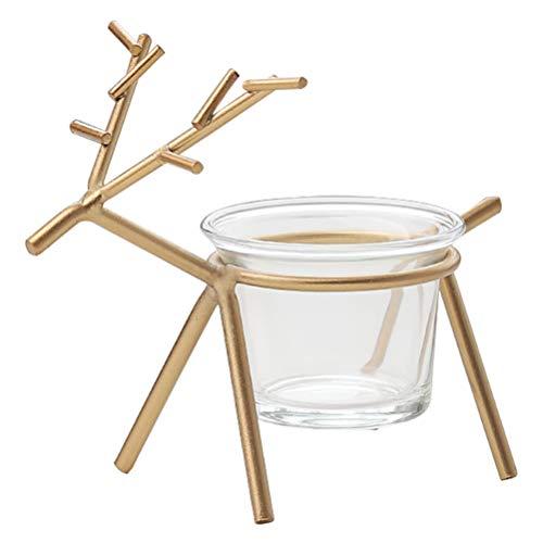 Mobestech Creative Iron candlestand Reindeer Tea Light Candle Holder Glass Minimalist Candlestick Weddings Parties Birthday Home Decor (Golden)
