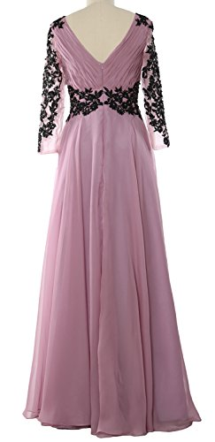 MACloth Women V Neck Mother of the Bride Dress Long Sleeve Formal Evening Gown Azul Real