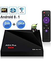 Sidiwen Android 8.1 TV Box A5X Plus Mini Smart Media Player 2GB RAM 16GB ROM Rockchip RK3328 Soporte Quad Core 3D 4K Ultra HD H.265 HEVC WiFi 2.4G Ethernet 100M LAN USB 3.0 Internet Set-Top Box