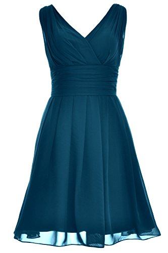 MACloth Women V Neck Backless Short Bridesmaid Dress Wedding Party Cocktail Gown Teal