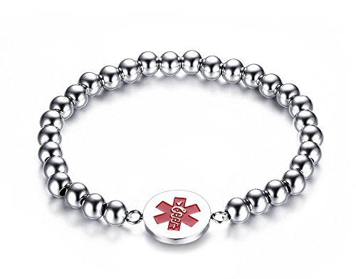 Free Engraving- 6mm Stainless Steel Beads Medical Alert ID Tag Bracelets for Women