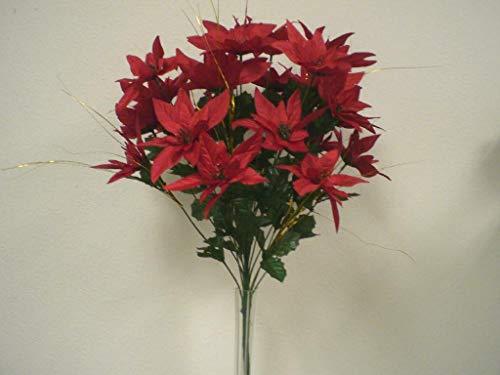 24' Silk Calla Lily - JumpingLight RED Christmas Poinsettia Bush 24 Artificial Silk Flowers 24'' Bouquet 030RD Artificial Flowers Wedding Party Centerpieces Arrangements Bouquets Supplies