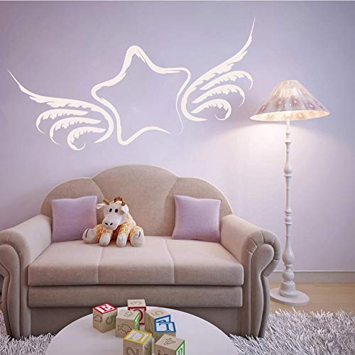 ZHRRYA Wall Sticker Wall Stickers for Kids Rooms Star with Angel Wings Planets and Spaces Wall Decals Quote Bedroom Art Sticker Vinilos Paredes 102x56cm Size can be - Wings Flowers Angel Arrangement