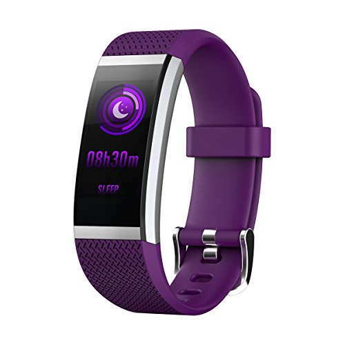 Bluetooth 4.0 intelligent Wristband Smart Watch Call SMS Reminder Sleep Health Monitor Fitness Tracker Color Screen Activity Pedometer Band iOS 7.1 Android 4.4 and above Waterproof IP67 HR2 (Purple)