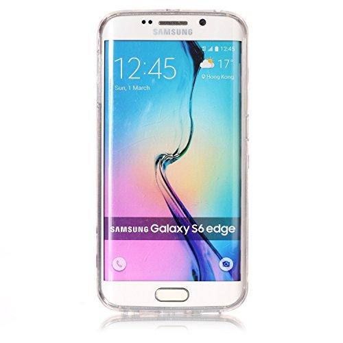 Funda Samsung Galaxy S6 Edge , E-Lush Transparent Bling Suave Silicona TPU Carcasa Ultra Delgado Flexible Gel Parachoques Goma Mate Clear Glitter Case Cover Impresión patrón Bumper Amortigua Golpes Pr Perro