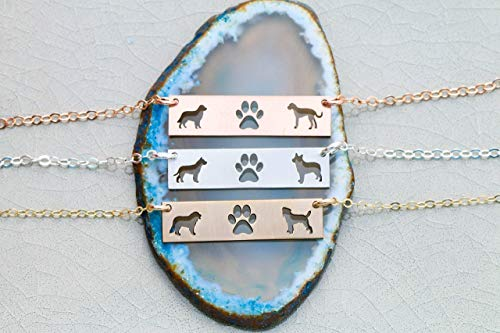 Two Pets Family Custom Dog BAR Necklace - IBD - Layering Charm - Personalize Animal Breed - 935 Sterling Silver 14K Rose Gold Filled - Fast 1 Day Production