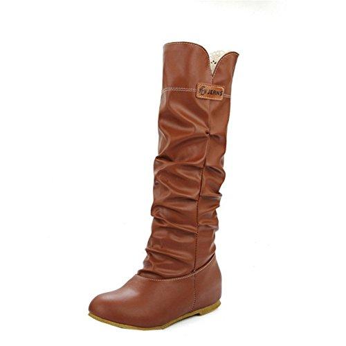 Stivaletti Alti In Camoscio Con Tacco Alto Da Donna In Camoscio, Scarpe Calde Per Le Donne Stivali Invernali Giallo