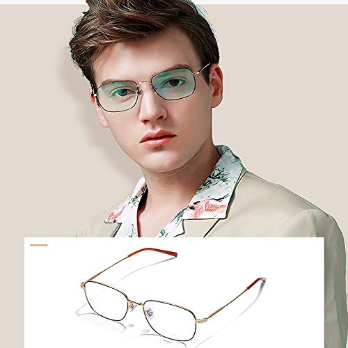 Men's Blue Blocking Glasses,Anti Eyestrain Anti Glare Lens Anti Blue Ray Computer Game Glasses Women Gaming Plain Mirror,Gold by OLDF (Image #5)