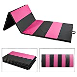 Doitpower Thick Fold Gymnastic Mat with Handles and Zipper Home Exercise Equipment Gymnastic Equipment (Pink Straight)