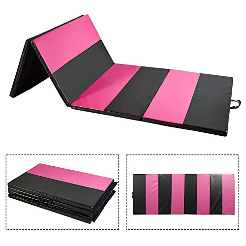 Doitpower Thick Fold Gymnastic Mat with Handles and Zipper Home Exercise Equipment Gymnastic Equipment (Pink Straight) by Doitpower