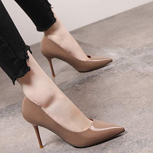 Leather Autumn High Wild Fashion Shoes High Female Pointed Single Work With Shoes Shallow Yukun heels Patent Camel Heels Fine Mouth nxE7qXX6