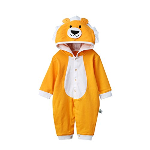 YISUMEI Baby's Hooded Coveralls Romper Climbing Clothes Bear Orange 3-6 Months (Hooded Orange Coverall)