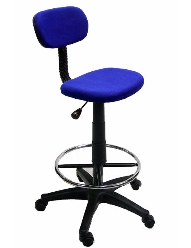 Blue Drafting Chair With 360 Footrest & Swivel