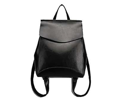 JeHouze Fashion Women Anti-Theft Shoulder Handbag Genuine Leather Backpack Casual Bag (Black)