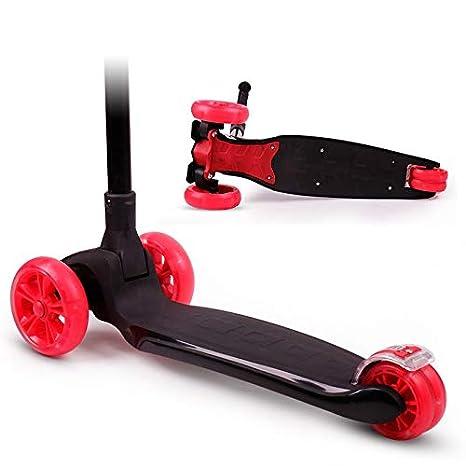 Dlkjsikogklsdgs Scooter de Cuatro Ruedas para niños Flash de un Solo botón Scooter Plegable de Altura
