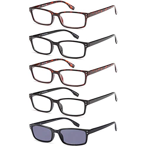 Finest Crystal Glass - Gamma Ray Reading Glasses - 5 Readers for Men Women - w Reader Sunglasses - 2.00