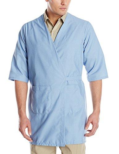 Red Kap Men's CollarleShort Sleeve Butcher Wrap, Light Blue, Medium Wrap Around Smock
