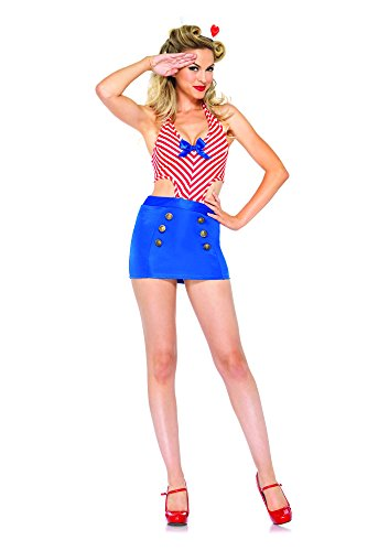 Leg Avenue Women's 2 Piece Shore Leave Sailor Costume, Red/Blue, Medium/Large
