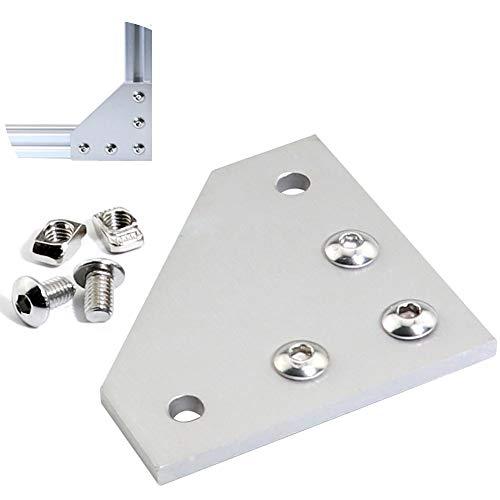 Boeray 10pcs T Slot L Shape Joining Plate and 50pcs M5x8 Hex Screw and 50pcs T nut for 2020 Aluminum Profile