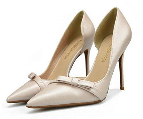 Nude Heel Brides Women's High XIUWU Pumps Sandals Toes Bowtie Wedding Pointed p6x141vq8