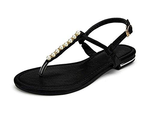 zapatos planos de Verano para Estudiantes perla clip de dedo del pie deslizan los zapatos de las sandalias de playa Black