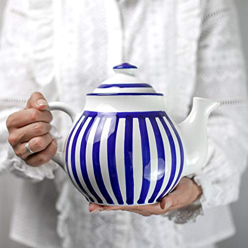 City to Cottage Handmade Dark Navy Blue Stripe Large Ceramic 1,7l/60oz/4-6 Cup Teapot with Handle and Lid, Unique Pottery Housewarming Gift for Tea Lovers