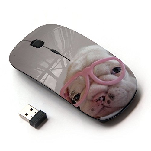 KawaiiMouse [ Optical 2.4G Wireless Mouse ] Puppy Pink Cute Sweet Heart Glasses ()