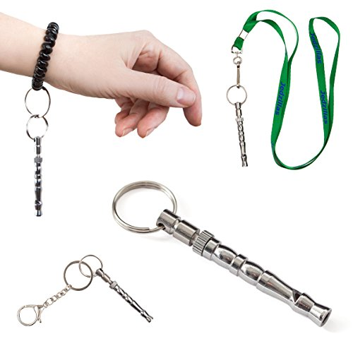 Jedzillas Premium Dog Training Whistle Set for Obedience and Bark Control, Adjustable Ultra Long Range, Superior Quality Lanyard, Wrist Bracelet, Keyring Clip and Training Guide.