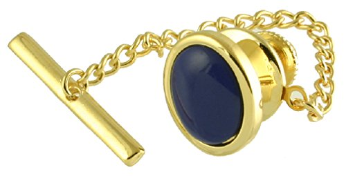 Select Gifts Blue Lapis Lazuli Oval Tie Tac Gold-Tone-Tone Pouch - Gold Pin Tie Lapis