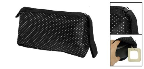 Rosallini White Dots Pattern Zip Up Black Cosmetic Lipstick Holder Pouch Bag w Mirror for Woman