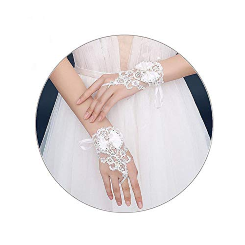 Yalice Women's Bow Bride Wedding Gloves Short Fingerless Lace Bridal Glove with Rhinestone Glove Prom Accessories