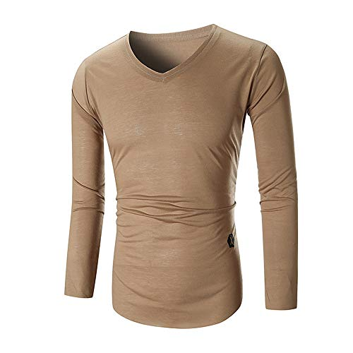 - OrchidAmor Men Tee Slim Fit V Neck Long Sleeve Muscle Cotton Casual Tops Blouse Shirts Khaki