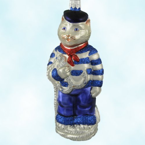 Patricia Breen Christmas Ornaments, Marseilles French Blue Sailor Cat, 2000, 2023, Rope & glittered anchor, Patriotic