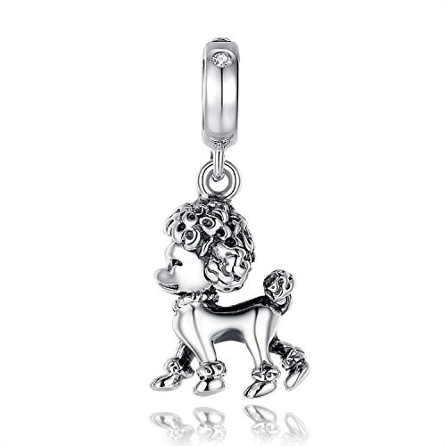 - Poodle Bling Crystal Dog Pet Charm 925 Sterling Silver Bead Fit European Brand Charms