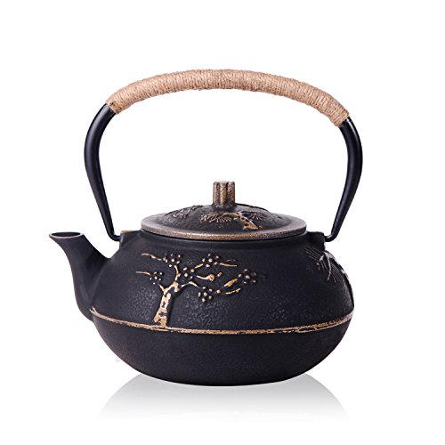 - JUEQI Japanese Cast Iron Teapot Kettle with Stainless Steel Infuser/Strainer, Plum Blossom 30 Ounce (900 ml)