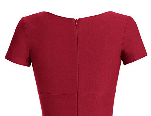 MUXXN 1950s Retro Cuello Redondo Corta Mangas Vestido Lápiz Burgundy