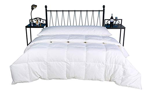 Eastwarmth Down Comforter/Duvet Insert Luxury Summer Spring Goose Down Blanket King Size Lightweight, 75% Goose Down 650+ Filling Power, 100% Organic Cotton