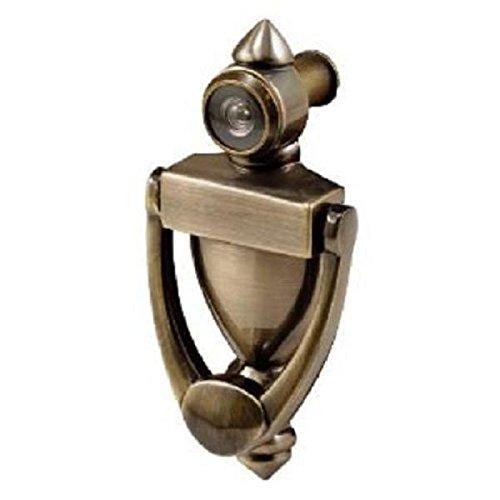 Antique Brass Finish Door Knocker with Viewer