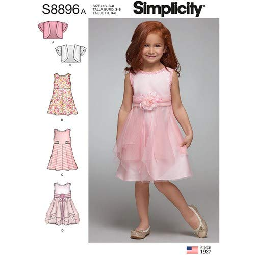 Simplicity 8896 / R10124 Girls Dress & Bolero Jacket Sewing Pattern Size 3-8