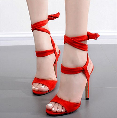 Red Size Sandal Fur Lace Up Personality Fluff High Girl's New Stiletto Strappy Heel Gift Red Ankle Womens HETAO Ladies twSIXqw