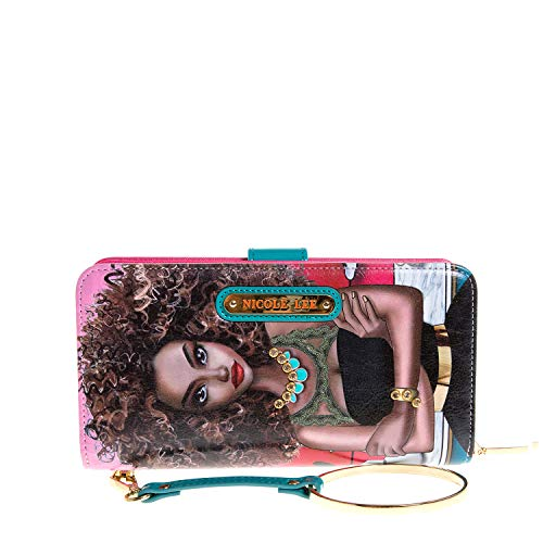 Color and Style Mini Clutch Wallet with Exclusive Print and Detachable Bracelet Wristlet and RFID Blocking (Super Roxana) (Nicole Lee Handbags And Purses)