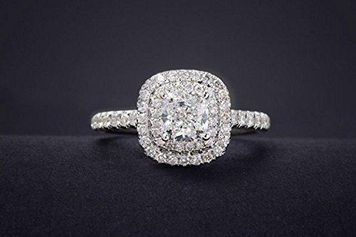 GOWE cojín corte 0.5 ct centro Natural Real diamante doble ...